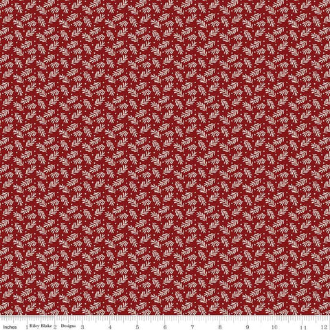 Christmas Traditions Sprigs Red - Riley Blake Designs - Cream Leaves Berries  - Quilting Cotton Fabric