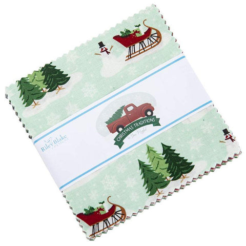 "Christmas Traditions Charm Pack 5"" Stacker Bundle - Riley Blake Designs - 42 piece Precut Pre cut - Holiday - Quilting Cotton Fabric"