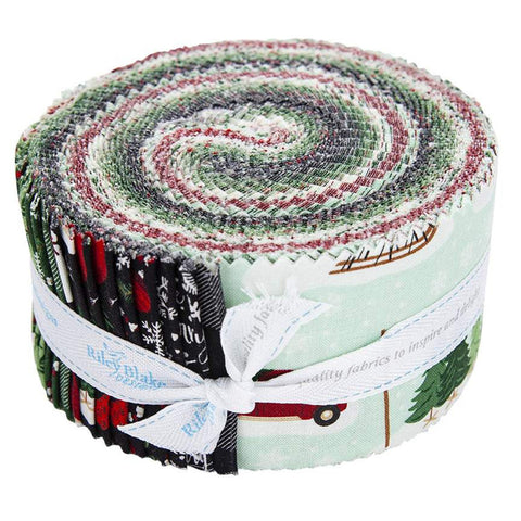 Christmas Traditions 2.5 Inch Rolie Polie Jelly Roll 40 pieces Riley Blake Designs - Precut Pre cut Bundle - Quilting Cotton Fabric