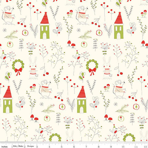 Merry Little Christmas Main C9640 Cream - Riley Blake Designs - Houses Rabbits Birds Leaves Mushrooms Berries - Quilting Cotton Fabric