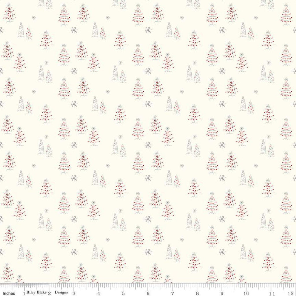 SALE Merry Little Christmas Trees C9641 Cream - Riley Blake Designs - Tree Snowflakes - Quilting Cotton Fabric