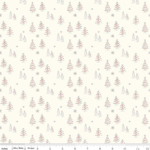 Merry Little Christmas Trees C9641 Cream - Riley Blake Designs - Tree Snowflakes - Quilting Cotton Fabric