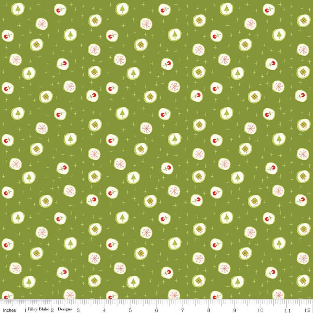 SALE Merry Little Christmas Candy C9642 Green - Riley Blake  - Presents Snowflakes Trees Flowers Plus Signs Cream - Quilting Cotton Fabric