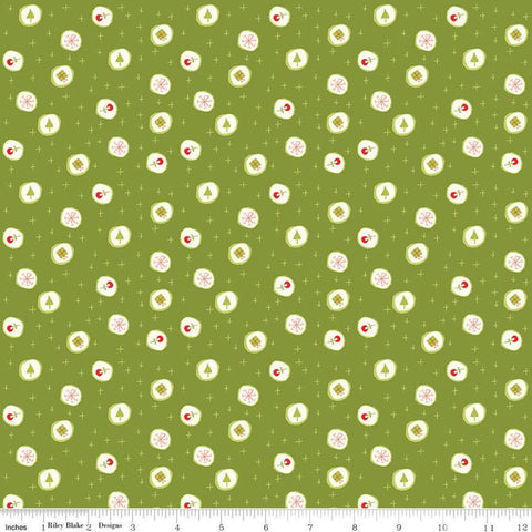 Merry Little Christmas Candy C9642 Green - Riley Blake  - Presents Snowflakes Trees Flowers Plus Signs Cream - Quilting Cotton Fabric