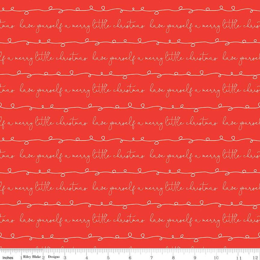 SALE Merry Little Christmas Writing C9643 Red - Riley Blake Designs - Have Yourself a Merry Little Christmas - Quilting Cotton Fabric