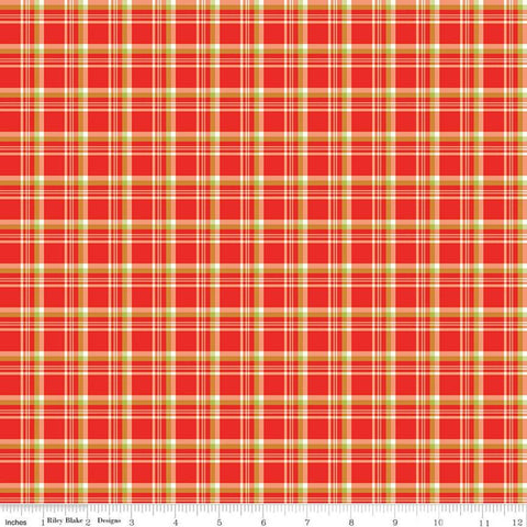 SALE Merry Little Christmas Plaid C9644 Red - Riley Blake Designs - Red Green Cream Plaid - Quilting Cotton Fabric