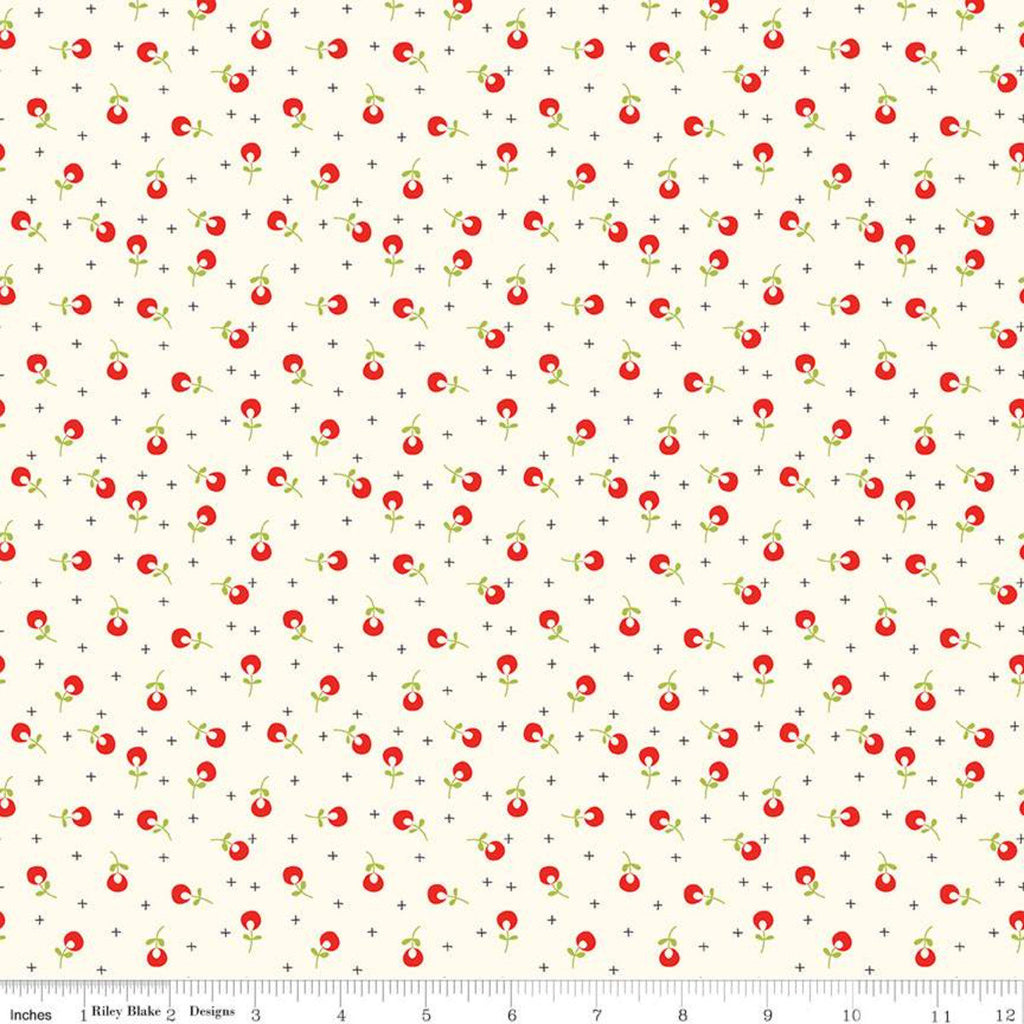SALE Merry Little Christmas Berries C9645 Cream - Riley Blake Designs - Floral Flowers Plus Signs - Quilting Cotton Fabric
