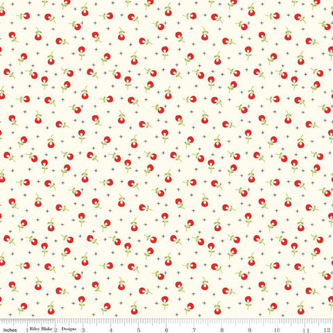 Merry Little Christmas Berries C9645 Cream - Riley Blake Designs - Floral Flowers Plus Signs - Quilting Cotton Fabric - end of bolt pieces