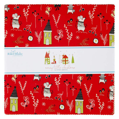 "Merry Little Christmas Layer Cake 10"" Stacker Bundle - Riley Blake Designs - 42 piece Precut Pre cut - Quilting Cotton Fabric"