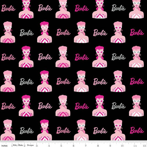 Barbie Main C9730 Black - Riley Blake Designs - 1959 Barbie Images Logo Dolls Toys Barbie Doll - Quilting Cotton Fabric