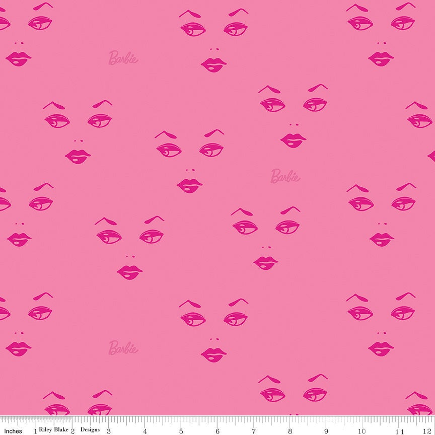 SALE Barbie Faces C9731 Pink - Riley Blake Designs - Barbie Face Logo Dolls Toys Barbie Doll - Quilting Cotton Fabric
