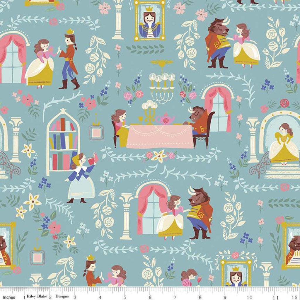 SALE Beauty and the Beast Main C9530 Blue - Riley Blake Designs - Fairy Tale - Quilting Cotton Fabric