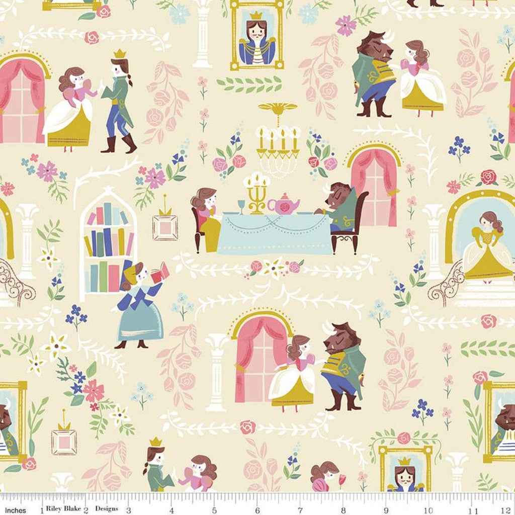 Beauty and the Beast Main C9530 Cream - Riley Blake Designs - Fairy Tale - Quilting Cotton Fabric