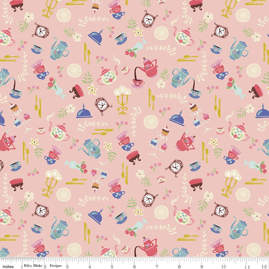 SALE Beauty and the Beast Objects C9534 Pink - Riley Blake Designs - Fairy Tale Clocks Teapots Teacups Candleabras - Quilting Cotton Fabric