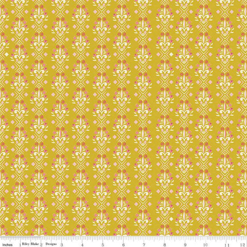 Beauty and the Beast Fleur-de-lis C9535 Gold - Riley Blake Designs - Fairy Tale Flowers Pink Cream Gold - Quilting Cotton Fabric