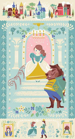 SALE Beauty and the Beast Panel P9536 Blue by Riley Blake Designs - Fairy Tale Belle Castles SPARKLE - Quilting Cotton Fabric