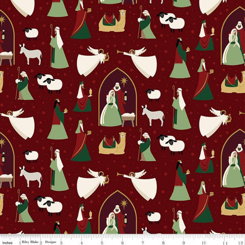 SALE Oh Holy Night Main Mulberry SPARKLE - Riley Blake Designs - Christmas Nativity Red with Gold SPARKLE - Quilting Cotton Fabric