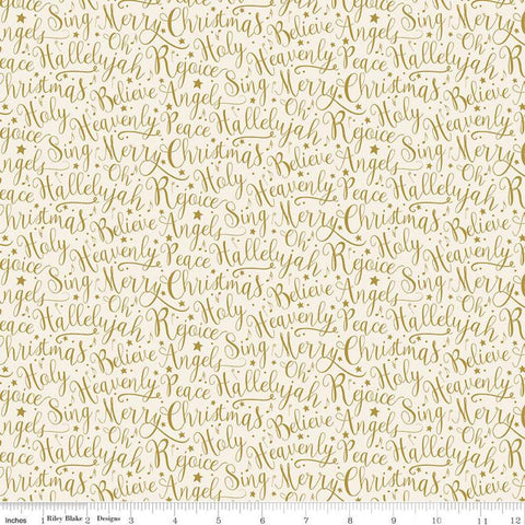 SALE Oh Holy Night Words Linen SPARKLE - Riley Blake Designs - Christmas Nativity Text Beige with Gold SPARKLE - Quilting Cotton Fabric