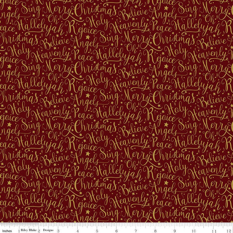 Oh Holy Night Words Mulberry SPARKLE- Riley Blake - Christmas Nativity Text Red Gold- Quilting Cotton Fabric-