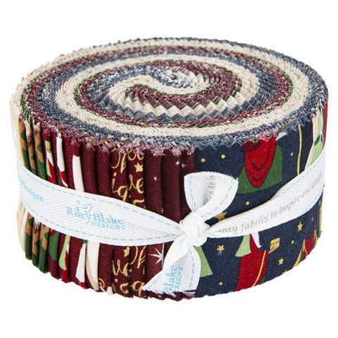 SALE Oh Holy Night 2.5-Inch Rolie Polie Jelly Roll 40 pieces Riley Blake Designs - Precut Bundle - Christmas  - Quilting Cotton Fabric