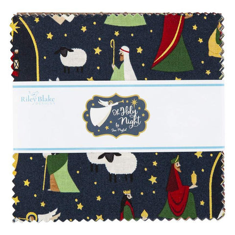 "Oh Holy Night Charm Pack 5"" Stacker Bundle - Riley Blake Designs - 42 piece Precut Pre cut - Christmas Nativity-Quilting Cotton Fabric"