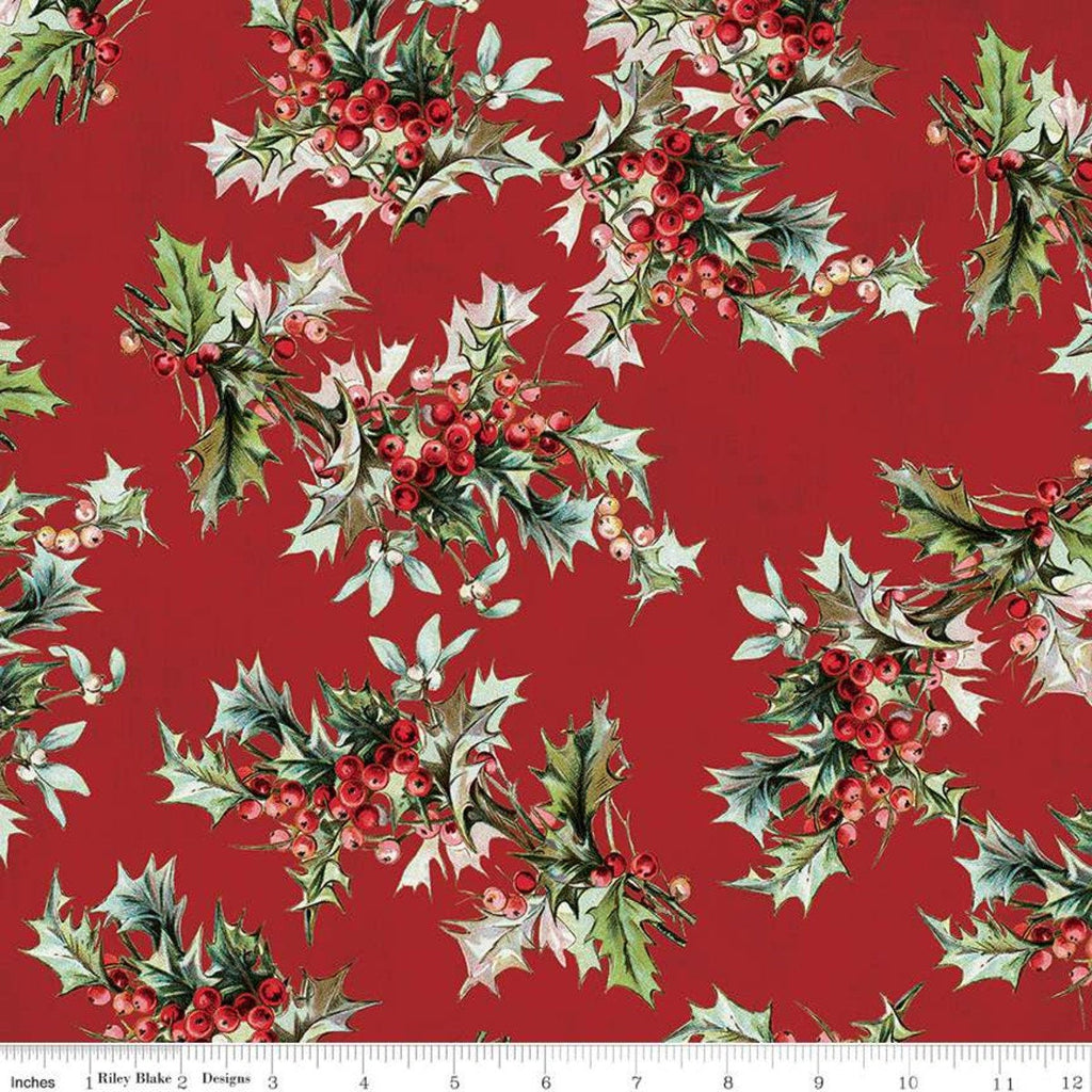 SALE Yuletide Main Red - Riley Blake Designs - Christmas Holly Berries Floral  - Quilting Cotton Fabric