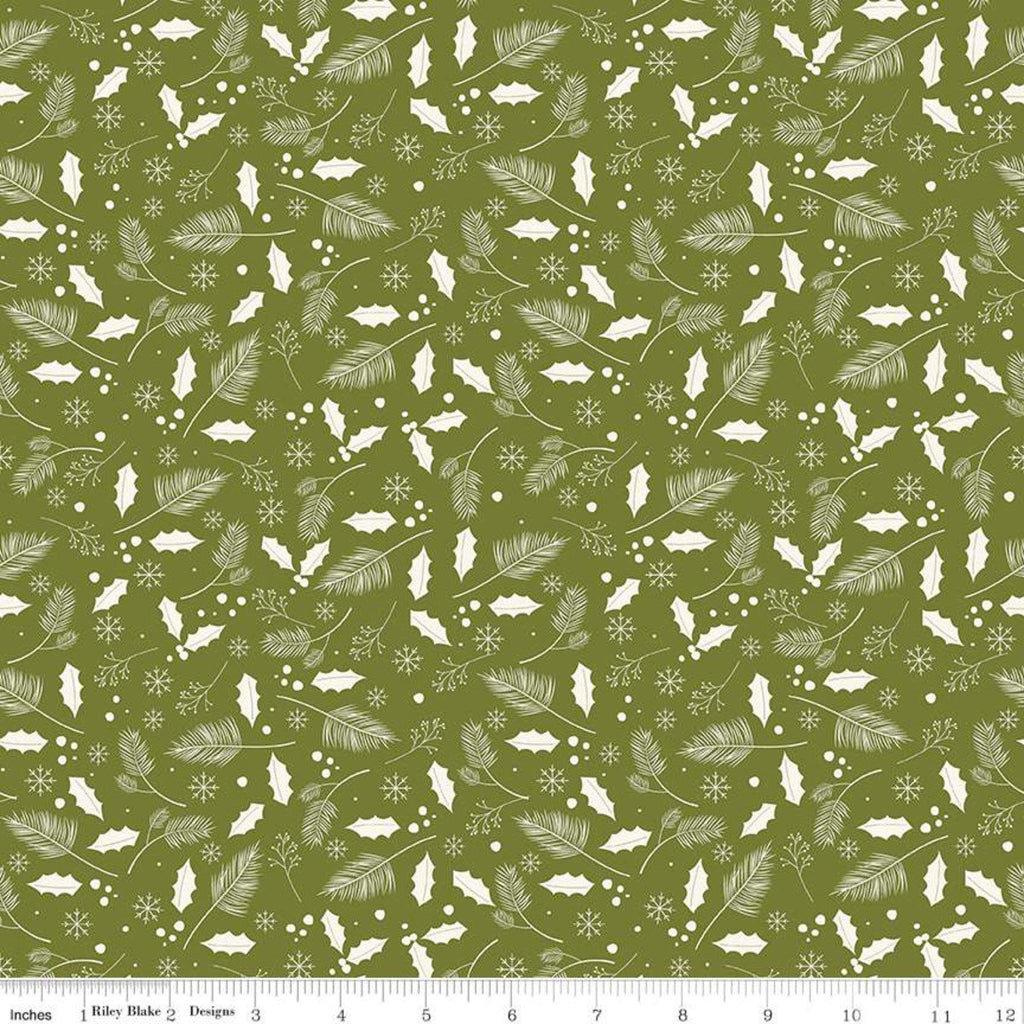 SALE Yuletide Leaves Olive - Riley Blake Designs - Christmas Cream Holly Leaves Snowflakes on Green - Quilting Cotton Fabric