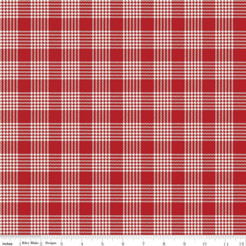 SALE Yuletide Plaid Cream - Riley Blake Designs - Christmas Houndstooth Red Cream Plaid - Quilting Cotton Fabric