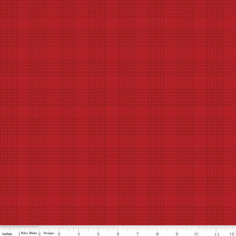 SALE Yuletide Plaid Red - Riley Blake Designs - Christmas Houndstooth Red Tone-on-Tone Plaid - Quilting Cotton Fabric
