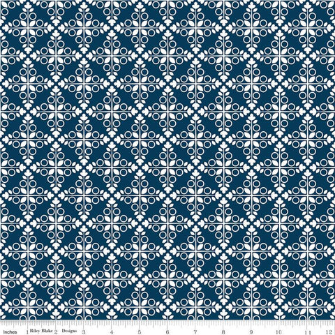 Garden Party Trellis C9562 Navy - Riley Blake Designs - Geometric Medallions Circles Leaves Blue Cream - Quilting Cotton Fabric