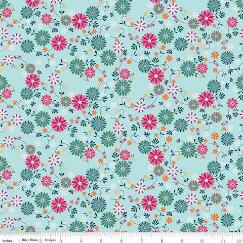 SALE Garden Party Wreaths C9563 Blue - Riley Blake Designs - Floral Flowers - Quilting Cotton Fabric