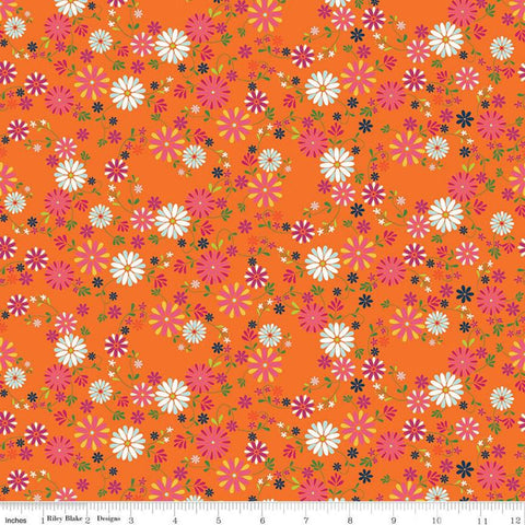 SALE Garden Party Wreaths C9563 Orange - Riley Blake Designs - Floral Flowers Cream - Quilting Cotton Fabric