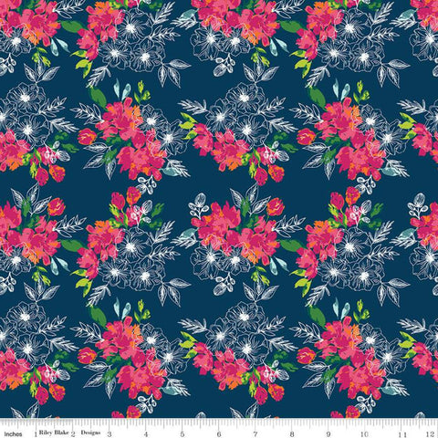 Garden Party Flower Bed C9564 Navy - Riley Blake Designs - Floral Flowers Blue - Quilting Cotton Fabric