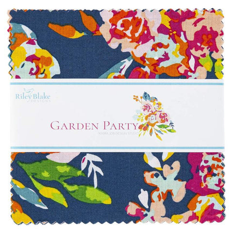 "Garden Party 5-9560-42 Charm Pack 5"" Stacker Bundle - Riley Blake Designs - 42 piece Precut Pre cut - Floral - Quilting Cotton Fabric"