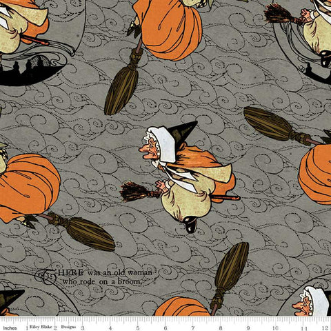 SALE Goose Tales Old Mother Goose Toss C9396 Gray - Riley Blake Designs - Halloween Broomsticks Nursery Rhymes -  Quilting Cotton Fabric