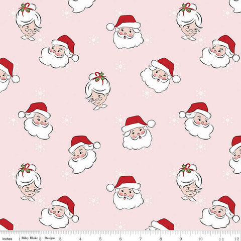 SALE Santa Claus Lane Main C9610 Pink - Riley Blake Designs - Christmas Mrs. Claus Snowflakes - Quilting Cotton Fabric
