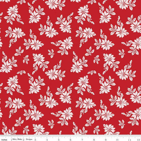 SALE Santa Claus Lane Poinsettias C9611 Red - Riley Blake Designs - Christmas Floral Flowers - Quilting Cotton Fabric