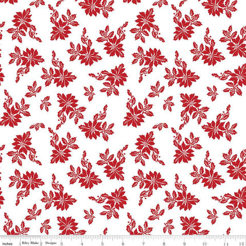 Santa Claus Lane Poinsettias C9611 White - Riley Blake Designs - Christmas Floral Flowers - Quilting Cotton Fabric