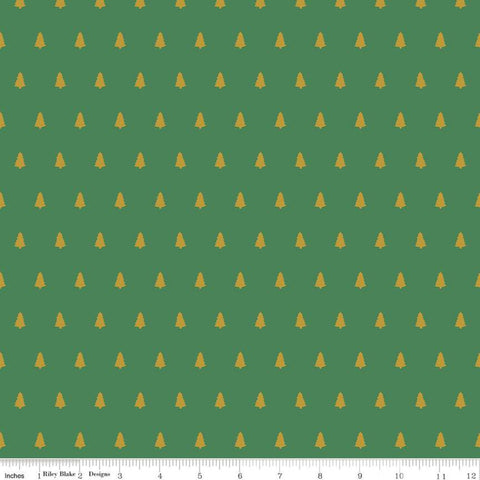 SALE Santa Claus Lane Trees SC9613 Green SPARKLE - Riley Blake Designs - Christmas Gold SPARKLE - Quilting Cotton Fabric