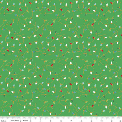 Santa Claus Lane Lights SC9614 Green SPARKLE - Riley Blake Designs - Christmas Gold SPARKLE - Quilting Cotton Fabric