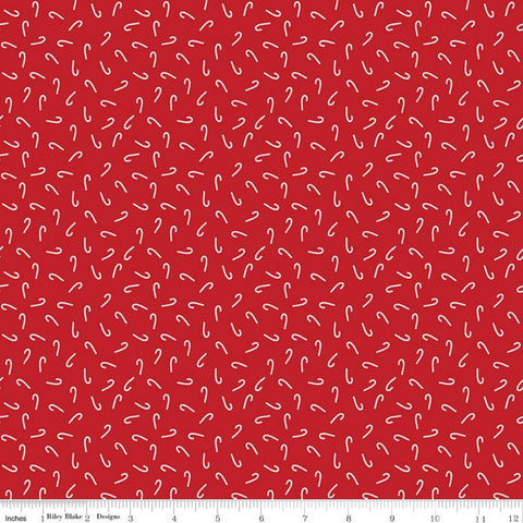 SALE Santa Claus Lane Candy Canes C9615 Red - Riley Blake Designs - Christmas White Candy Canes on Red - Quilting Cotton Fabric