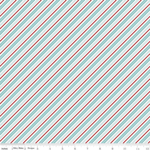 SALE Santa Claus Lane Stripes C9616 Bear Lake - Riley Blake Designs - Christmas Diagonal Blue Red White Stripe - Quilting Cotton Fabric