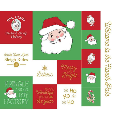 Santa Claus Lane Christmas Panel 1 SPARKLE SP9618-1 by Riley Blake Designs - Christmas Gold Metallic SPARKLE - Quilting Cotton Fabric