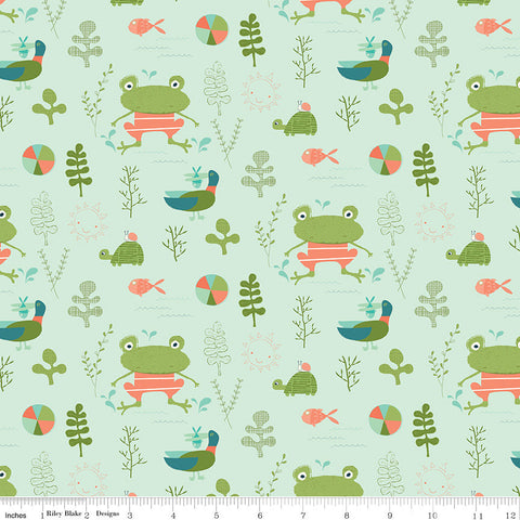 Ready Set Splash! Main C9890 Pistachio - Riley Blake Designs - Frogs Turtles Ducks Fish Green - Quilting Cotton Fabric