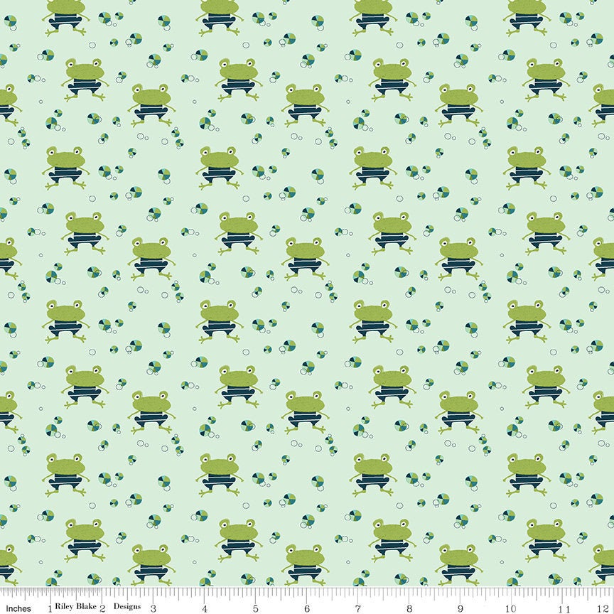 Ready Set Splash! Frogs C9892 Pistachio - Riley Blake Designs - Beach Balls Green - Quilting Cotton Fabric
