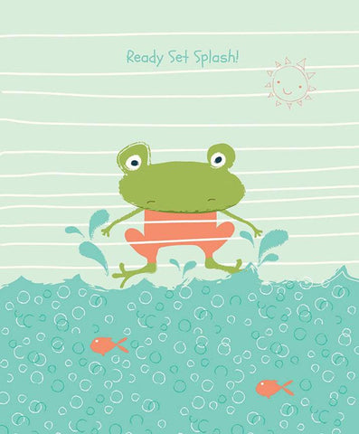 Ready Set Splash! Panel P9898 Coral by Riley Blake Designs - Frog Sun Water Bubbles Orange Fish - Quilting Cotton Fabric
