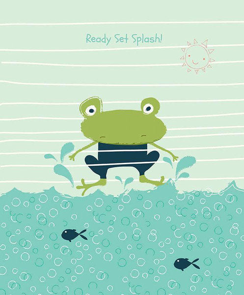 SALE Ready Set Splash! Panel P9898 Deep Sea by Riley Blake Designs - Frog Sun Water Bubbles Blue Fish - Quilting Cotton Fabric