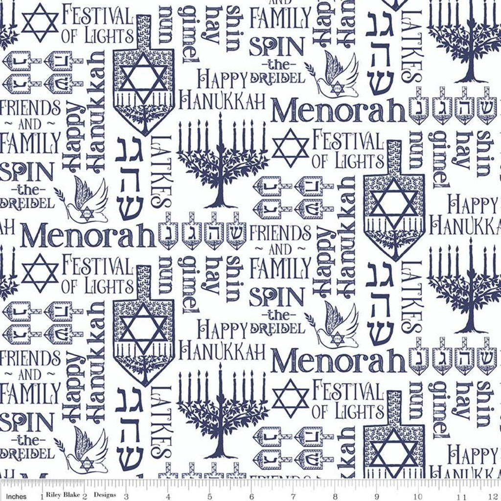 Festival of Lights Symbols C9651 White - Riley Blake Designs - Hanukkah Menorah Star of David Words Text White - Quilting Cotton Fabric