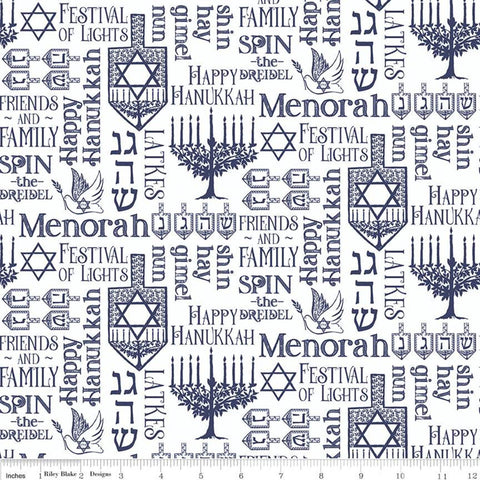 SALE Festival of Lights Symbols C9651 White - Riley Blake Designs - Hanukkah Menorah Star of David Words Text White - Quilting Cotton Fabric