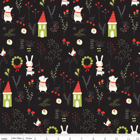 Merry Little Christmas Main C9640 Black - Riley Blake  - Houses Mice Rabbits Birds Leaves Mushrooms Cream - Quilting Cotton Fabric